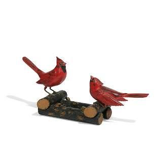 American Folk Art figural pair of male cardinals