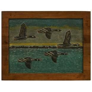 "Attr. ""Indian Bill"" Folk Art relief carved geese"