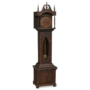 American Folk Art tall case clock w/ pyrography