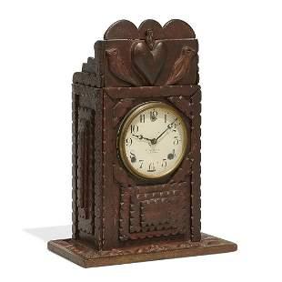 American Folk Art Tramp Art mantel clock