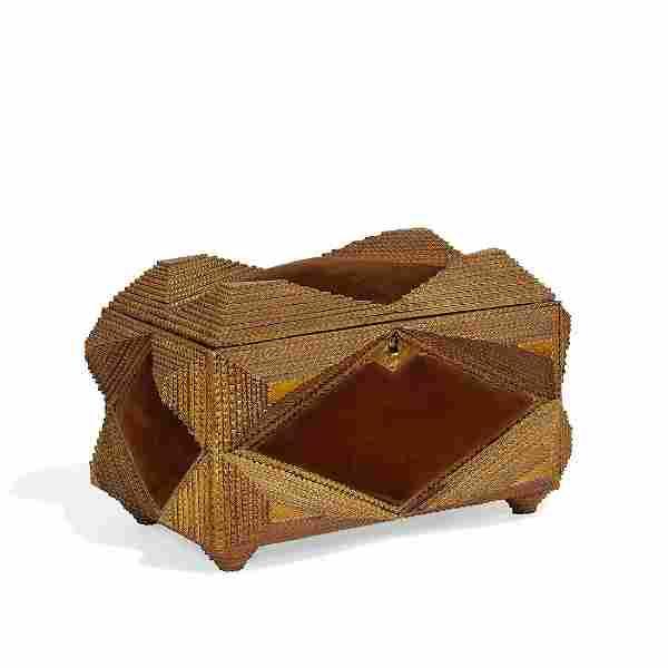 American Folk Art Tramp Art sewing box