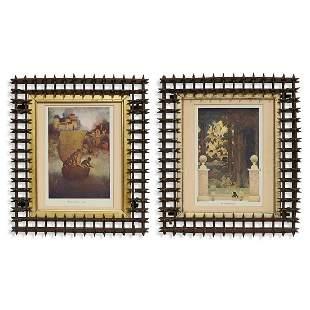 "Folk Art Tramp Art ""Crown of Thorns"" frames"