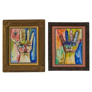 American Folk Art Tramp Art frames w/ artworks