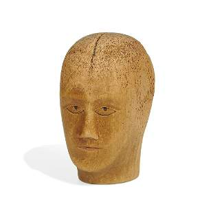 American Folk Art carved face on wig head