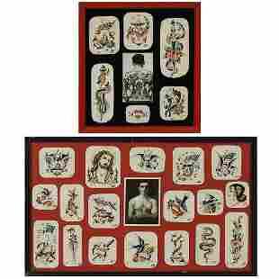 American Folk Art tattoo flash drawings w/ photos