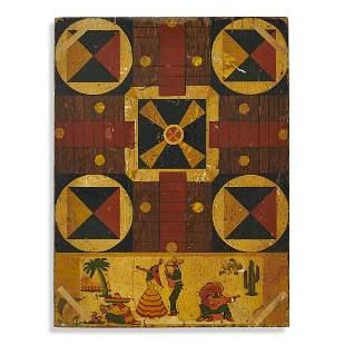 American Folk Art Parcheesi/checkers game board