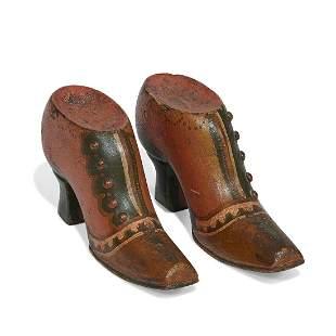 American Folk Art carved heeled shoes, pair