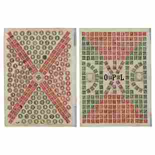 O.P. Lodmell, Stamp Collages (a pair of works)