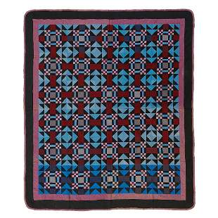 """American Nine Patch Center Square quilt 74"""" x 88"""""""