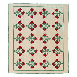 "American Carolina Lily quilt 71"" x 81 1/2"""