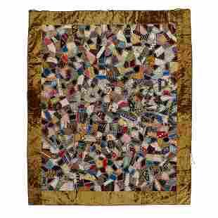 "American Victorian Crazy quilt 62 1/2"" x 75"""