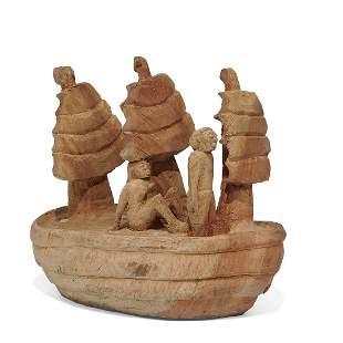 Folk Art carved wood figures on a ship