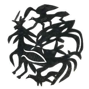 Joseph Louis-Juste, Steel Drum Sculpture w/Birds