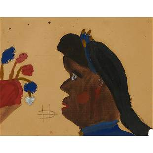 Clementine Hunter, Female Portrait with Flowers