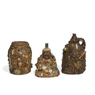 American Folk Art memory jugs, group of three