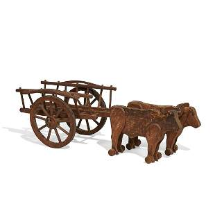 American Folk Art ox cart with yoke and oxen