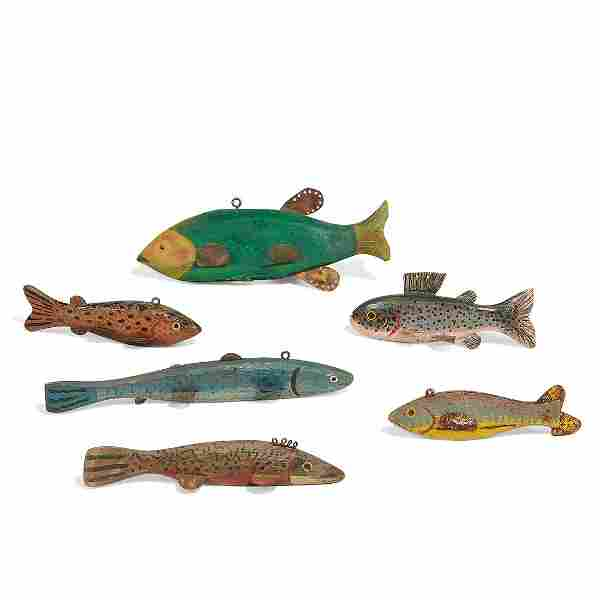 George Aho & others, fish decoys, group of six