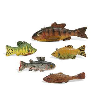 George Aho & others, fish decoys, group of five
