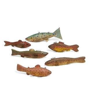 American Folk Art fish decoys, group of six