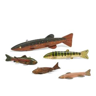 American Folk Art fish decoys, group of five