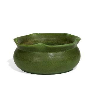 Grueby bowl with a flared undulating rim