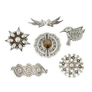 Mexican brooches, group of six
