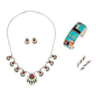 Native American — Navajo jewelry articles, three