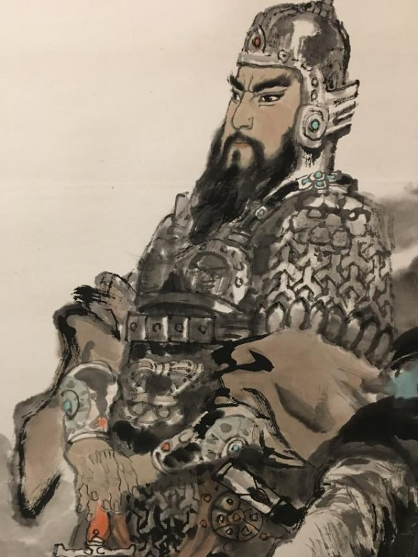 Ink and colour on paper of knight; signed Chen Yan-Ning