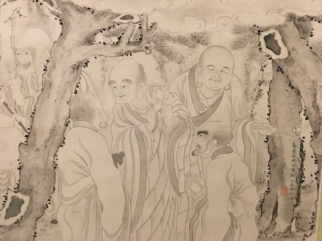 19th C. Ink on paper immortals party; signed Ding - 2