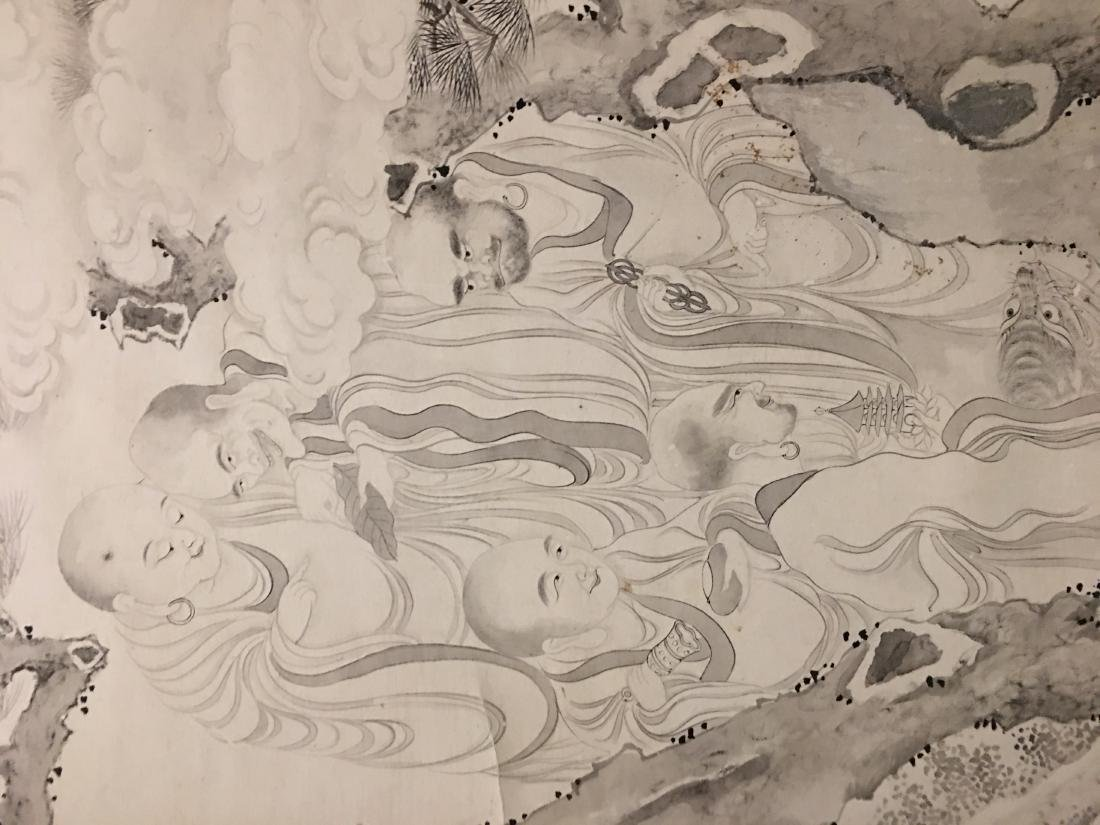19th C. Ink on paper immortals party; signed Ding - 3