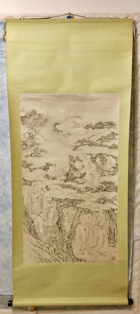 19th C. Ink on paper immortals party; signed Ding - 8