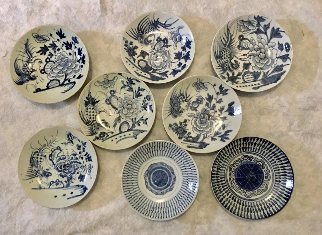 Set of 8 blue and white plates; 18/19th C.