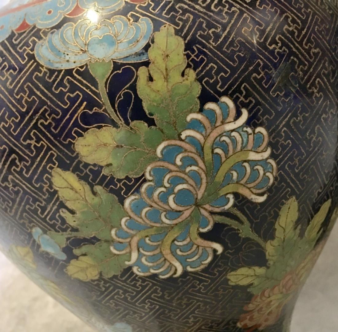 Pair 19/20th C. cloisonne vases - 4