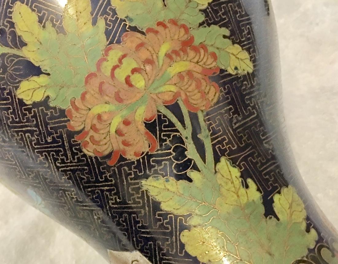 Pair 19/20th C. cloisonne vases - 6