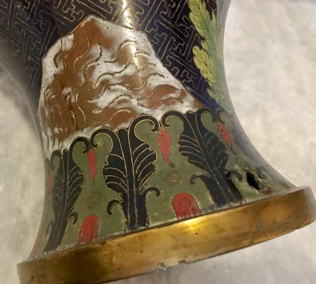 Pair 19/20th C. cloisonne vases - 7