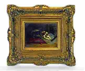 Charles Michel Verlat 19th Century Oil painting
