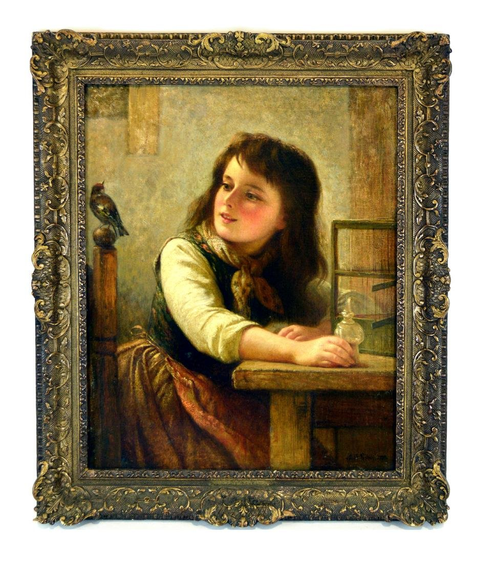 19th Century Painting Portrait of a girl. Signed