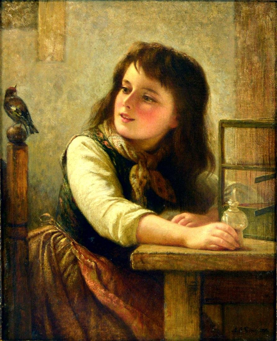 19th Century Painting Portrait of a girl. Signed - 2