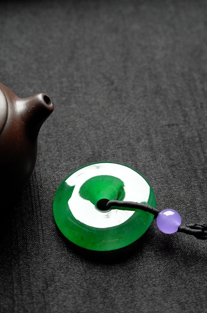 Natural Emerald Jadeite Jade Pendent - 2