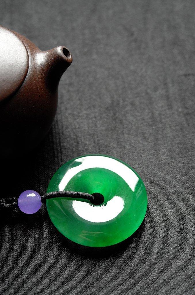 Natural Emerald Jadeite Jade Pendent - 3