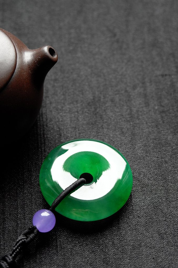 Natural Emerald Jadeite Jade Pendent - 5