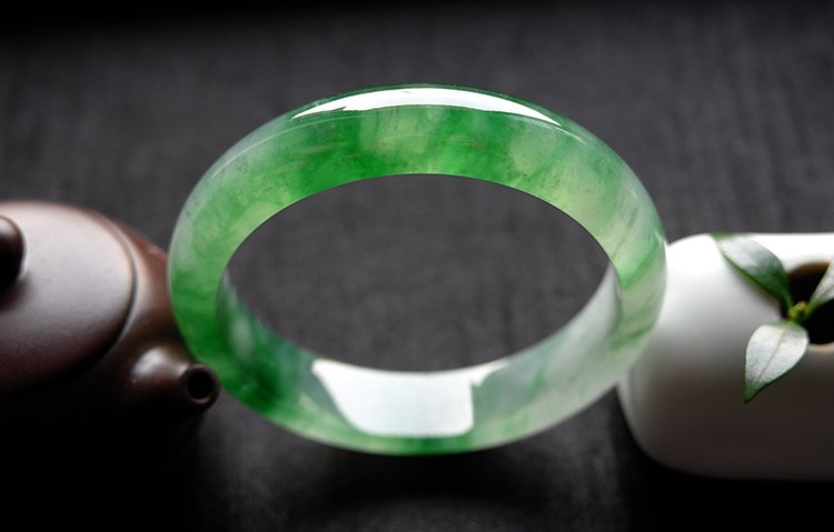 Natural Emerald Jadeite Jade Bangle - 2