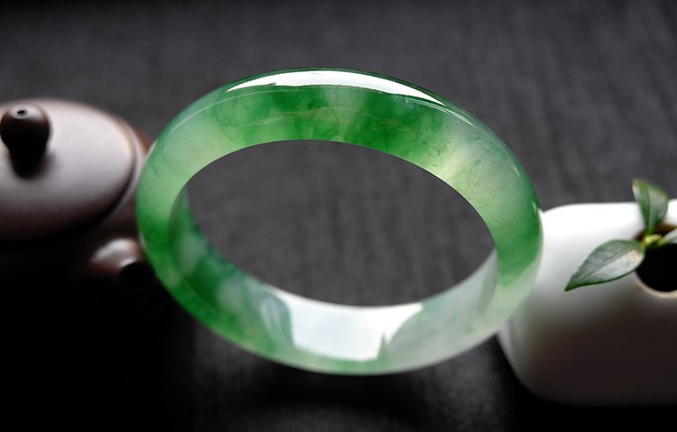 Natural Emerald Jadeite Jade Bangle - 6