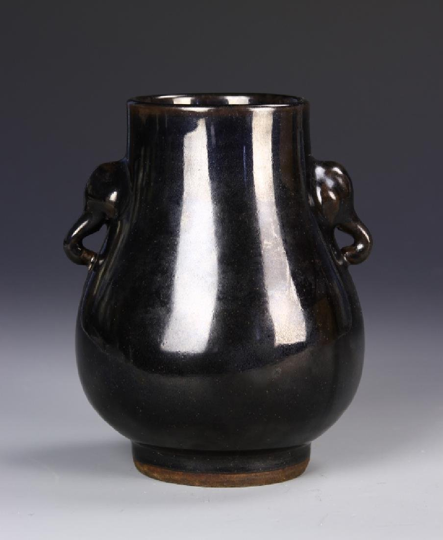 Chinese Black Glaze Elephant Vase