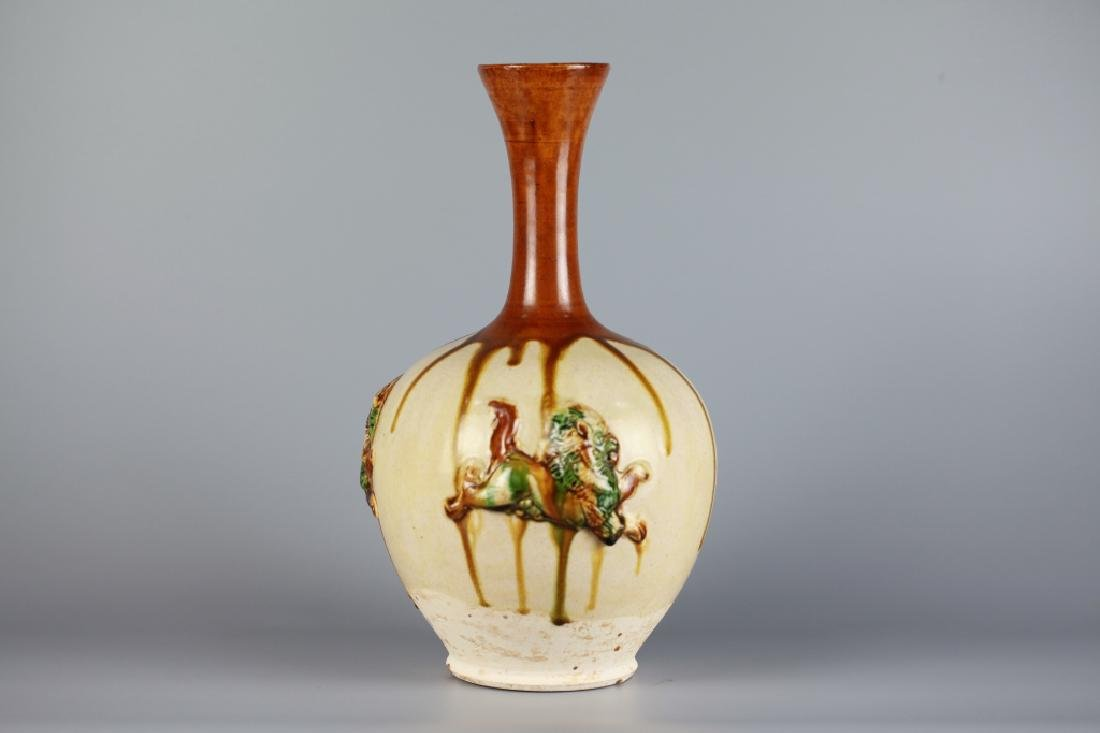 Chinese Sancai Long Neck Vase