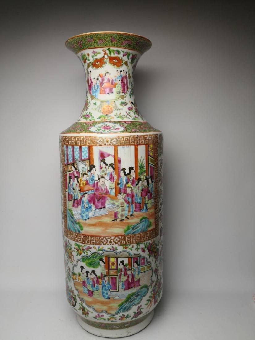 Chinese Rose Medallion Rouleau Vase