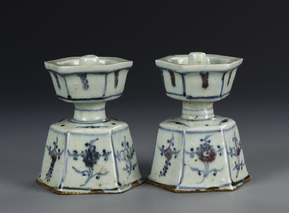 Pair of Chinese Blue and White Candle Holder