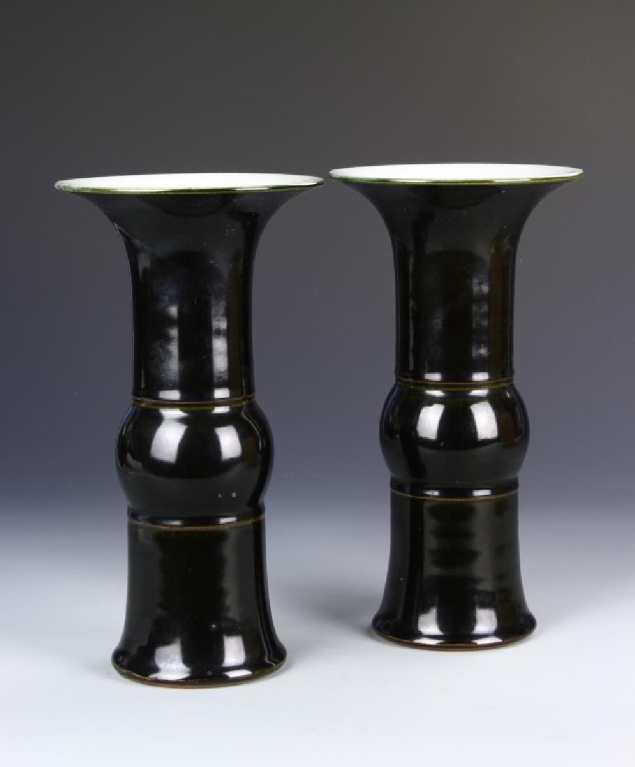 Pair of Chinese Black Glazed Gu Vase