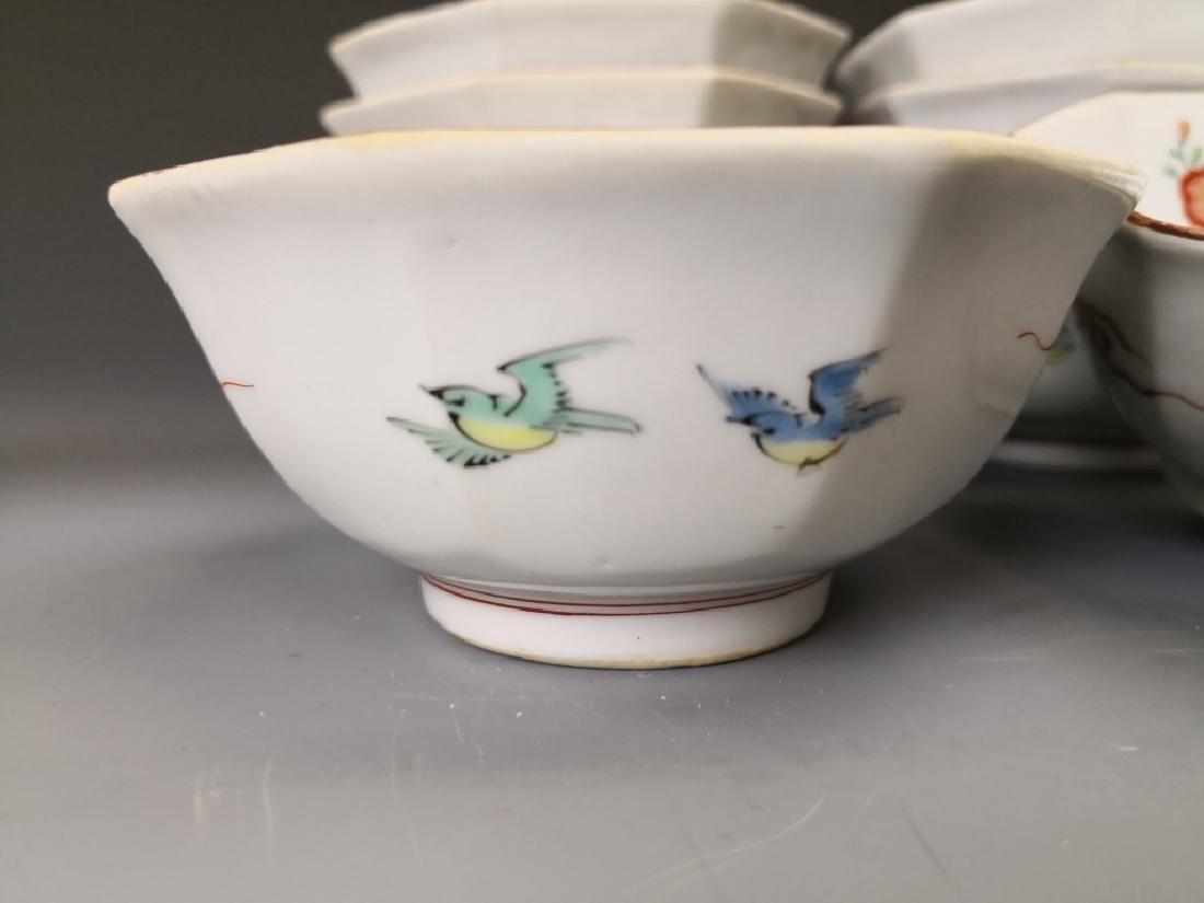 Ten Chinese Famille Rose Tea Bowl - 6