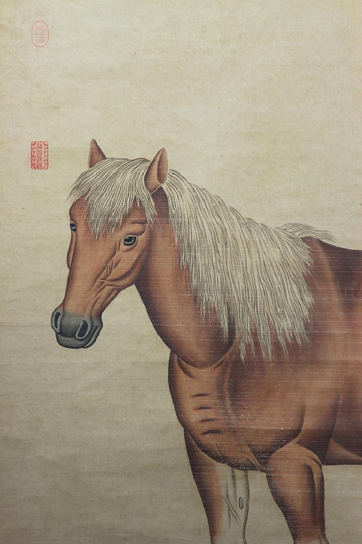 China, Scroll Painting of Chestnut Horse - 3